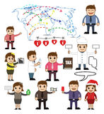 Various Cartoon Business Concepts Illustration. Cartoon Business People with Many Business Concepts Vector Illustration Set vector illustration