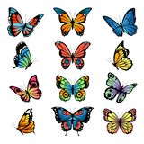 Various cartoon butterflies. Set vector illustrations of butterflies. Colored butterfly insect, various natural bright wildlife royalty free illustration