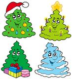 Various cartoon Christmas trees royalty free illustration