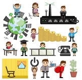 Various Cartoon Concepts of Technology and Economy. Cartoon Comic Business Communication Graphics Vector Illustration Set Royalty Free Stock Image