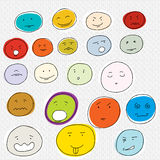 20 Various Cartoon Faces. Set of various facial expressions on dot background Stock Images