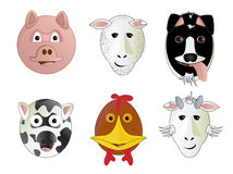 Various Cartoon Farm Animals Stock Image