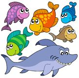 Various cartoon fishes collection royalty free illustration