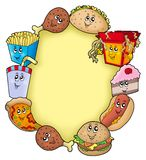 Various cartoon food frame Stock Images