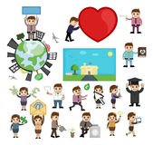 Various Cartoon Graphics of Business and Professions Stock Photo