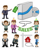 Various Cartoon Holiday and Business Concepts. Cartoon Business Objects and People Conceptual Graphics Vector Illustration stock illustration