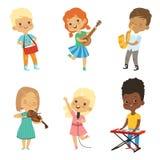 Various cartoon kids musicians royalty free illustration