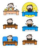Various Cartoon Professional Businessman sitting poses on office table. Vector design stock illustration