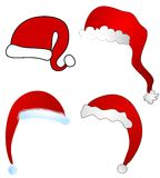 Various Cartoon Santa Claus Hats Isolated Stock Photo