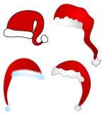 Various Cartoon Santa Claus Hats Isolated vector illustration