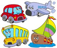 Various Cartoon Vehicles Royalty Free Stock Photography