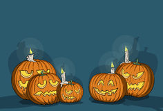 Various carved pumpkins. Happy Halloween, various carved pumpkins, creepy shadows royalty free illustration
