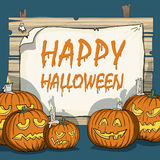 Various carved pumpkins. Happy Halloween, various carved pumpkins, creepy shadows vector illustration
