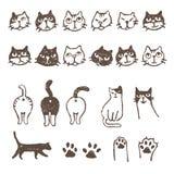 Various cat's, face, paw, and footprint Stock Photo
