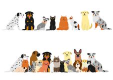 Various cats and dogs border set. Various Cute cats and dogs border set royalty free illustration