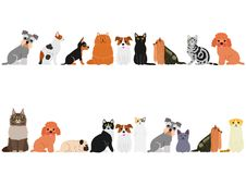 Various cats and small dogs border set. Various Cute cats and small dogs border set stock illustration