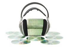 Various CD / DVD with headphones. On white isolated background Stock Photo
