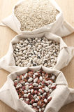 Various cereals in bags Stock Photos