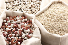 Various cereals in bags Stock Image