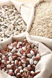Various cereals in bags Royalty Free Stock Images