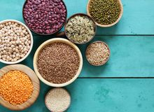 Various Cereals Beans, Lentils, Rice, Kinoa Royalty Free Stock Photo