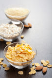 Various cereals and cornflakes Stock Photo