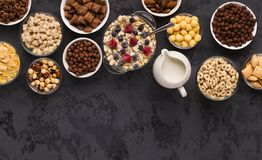 Tasty breakfast on gray concrete background stock photos