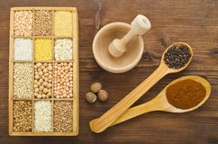 Various cereals and spices Royalty Free Stock Photos