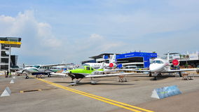 Various Cessna aircraft on display at Singapore Airshow Stock Photography