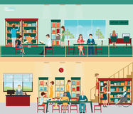 Various character of people in Bookstore. Various character of people in Bookstore or library with bookshelves, adult and teenager, business people and wheel Stock Image