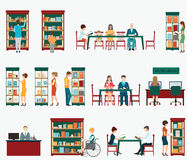 Various character of people in Bookstore or library   Stock Photos