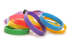 Various charity wristbands cutout Royalty Free Stock Image