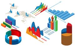 The various charts and graphs - 3d rendering royalty free stock images