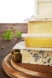 Various cheese pieces. Stock Images