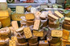 Various cheeses in the Central Market of Valencia, Spain Royalty Free Stock Images