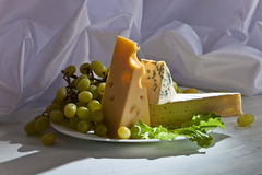 Various cheeses with grapes Royalty Free Stock Photo