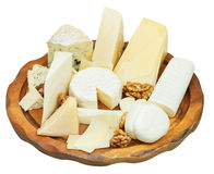 Various cheeses plate isolated on white Stock Images