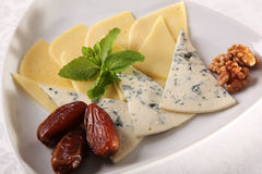 Various cheeses on a plate Stock Images