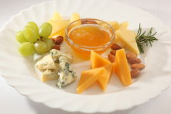 Various cheeses on a plate Stock Image
