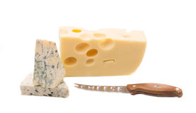 Various cheeses on a white background Royalty Free Stock Image