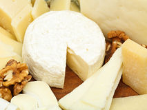 Various cheeses on wooden plate Royalty Free Stock Image