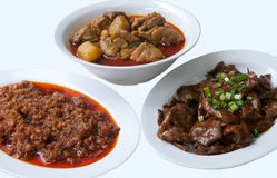 Various Chinese dishes. Chinese dishes of chili minced meat, stirred fried beef, and chicken curry Stock Photo