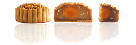 Various chinese mooncakes with isolated white background Stock Image