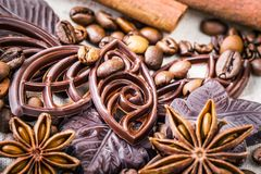 Various chocolate and anise Royalty Free Stock Image