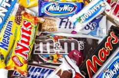 Various chocolate bars Royalty Free Stock Photos