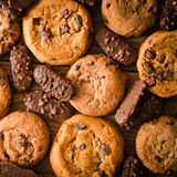 Various chocolate cookies background - Square composition Royalty Free Stock Photography