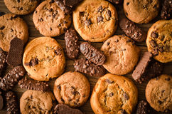 Various chocolate cookies background Royalty Free Stock Image