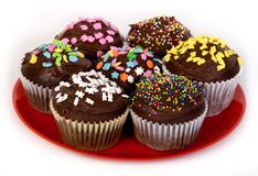 Various chocolate cupcakes Stock Photography