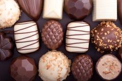 Various chocolate pralines Close-up royalty free stock image