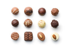 Various chocolate pralines Royalty Free Stock Image